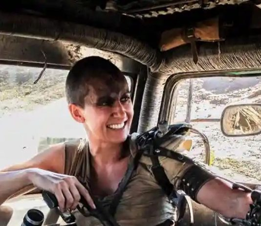 Stunt double Dayna Grant on the set of Mad Max: Fury Road.